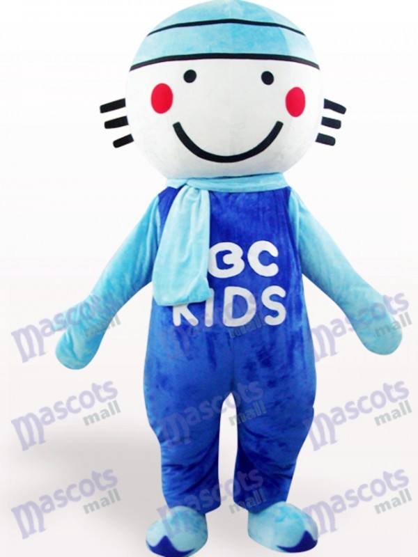 Blue Round Head Doll Cartoon Adult Mascot Costume