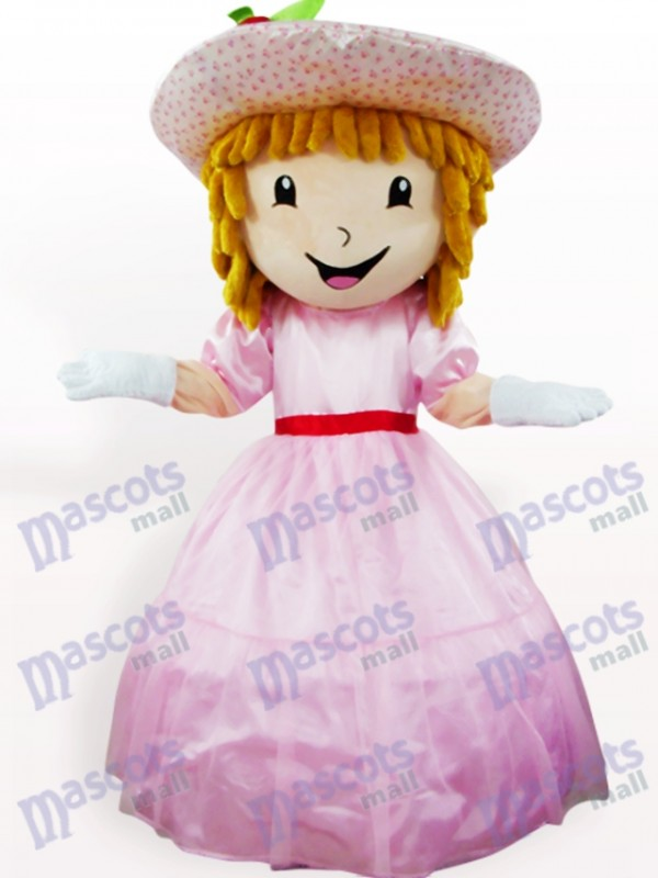 Pink Strawberry Shortcake Girl Cartoon Adult Mascot Costume
