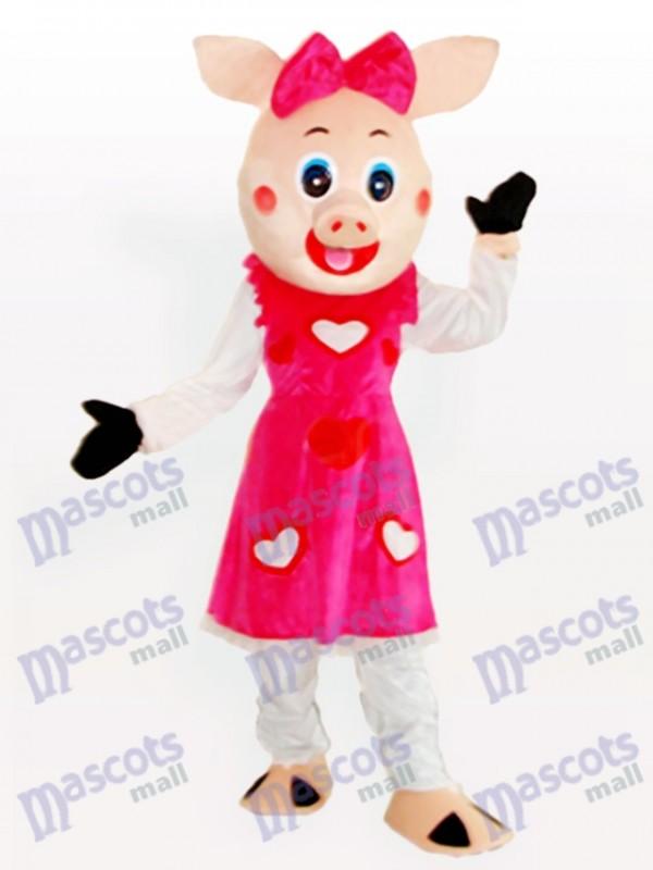 Smiling Piggy Girl Adult Animal Mascot Costume