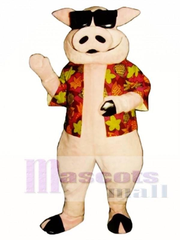 Pig Piglet Hog with Hawaiian shirt & Sunglasses Mascot Costume