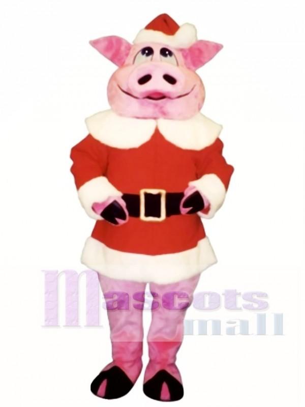 Hog with Santa Coat & Hat Christmas Mascot Costume