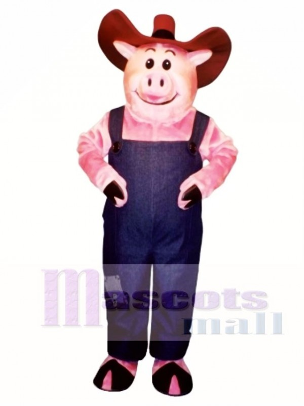 Farmer Hog with Overalls & Hat Mascot Costume