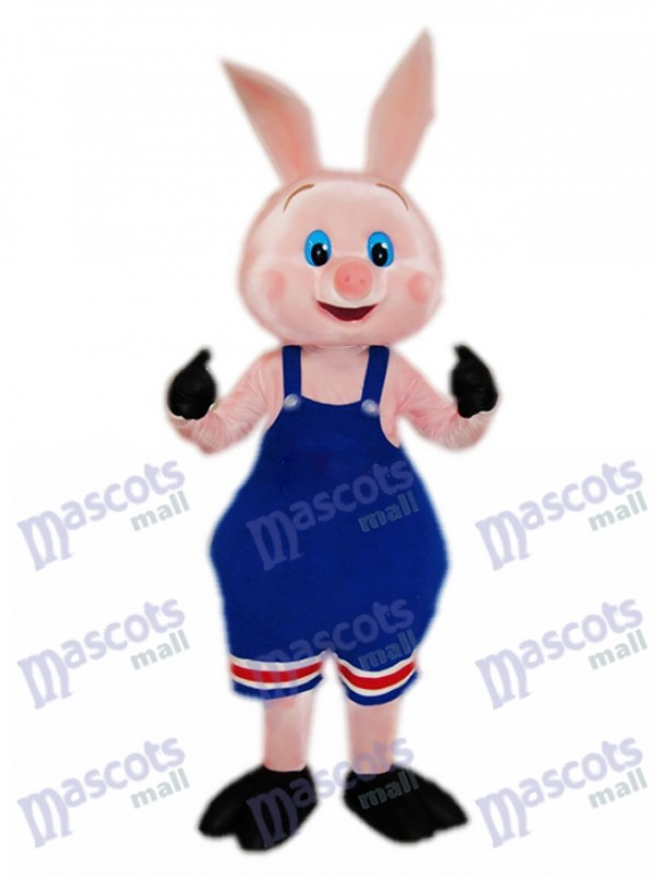 Pig Piglet Hog with Blue Overalls Mascot Costume