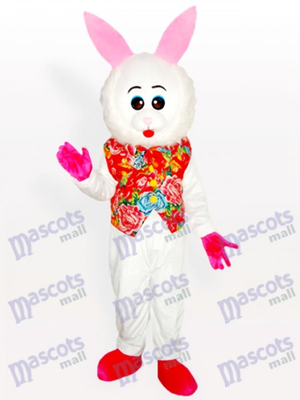 Easter Adorable Eastern Bunny in Floriated Vest Adult Mascot Costume