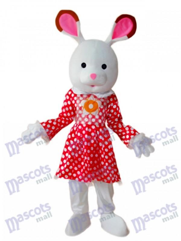 Easter Rabbit in White Dot Red Dress Mascot Adult Costume