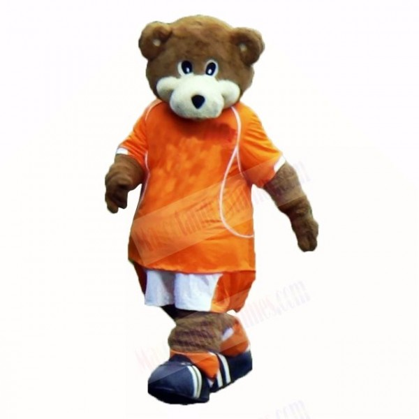 Football Bear with Orange T-shirt Mascot Costumes School