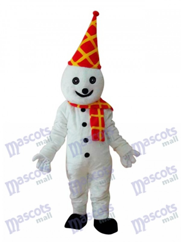 Snowman in Colorful Birthday Hat Mascot Adult Costume